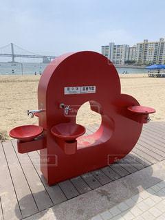 赤,ビーチ,かわいい,散歩,ハート,水道,heart,釜山,韓国旅行,マーク,Busan,広安里