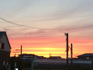 空,夕日,屋外,雲,オレンジ,夕陽,グラデーション,フォトジェニック,色・表現,感覚・感情