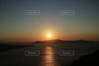 自然,風景,海,朝日,ビーチ,水面,ヨーロッパ,正月,サントリーニ島,お正月,日の出,新年,初日の出,エーゲ海