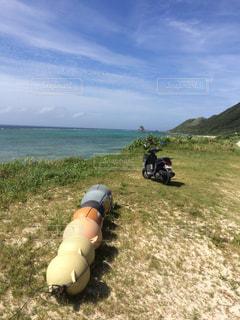 海,緑,雲,海岸,沖縄,ツーリング,お出かけ,原付