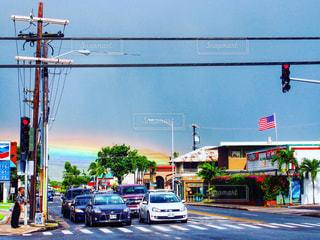 青空,虹,アメリカ,街,旅行,国旗,横断歩道,ハワイ