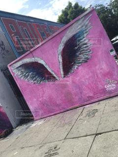 ピンク,絵,アート,アメリカ,観光,壁,旅行,羽,LA,翼,pinkwall