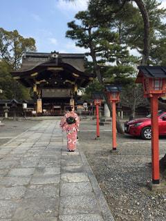 歩道に立っている少女の写真・画像素材[984033]
