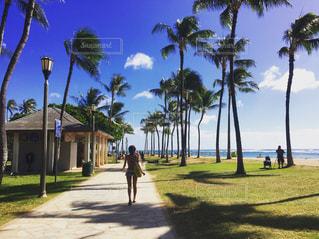 ワイキキビーチを散歩する人の写真・画像素材[1003945]