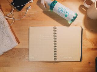 屋内,手持ち,テーブル,ノート,デザイン,俯瞰,木目,紙,事務用品,レールデュサボン