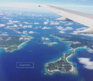 自然,海,空,屋外,きれい,青空,飛行機,水面,沖縄,休日