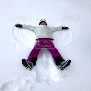 自然,雪,寝転がる,羽根,新雪,大の字
