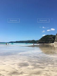 青々とした空と綺麗な砂浜の写真・画像素材[1119989]