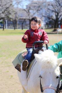 ドキドキの初乗馬♡の写真・画像素材[989560]