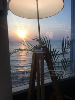 海,マイホーム,家,夕陽,サンセット