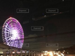 夜,大阪,観覧車,道路,エキスポシティ