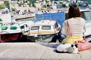 女性と寄り添うネコの写真・画像素材[1263031]