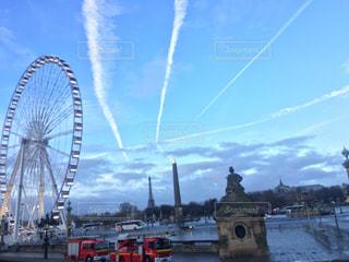 空,乗り物,観覧車,景色,旅行,フランス,パリ,エッフェル塔,朝,休日,お出かけ