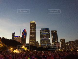 空,夜,群衆,屋外,アメリカ,光,都会,旅行,旅,シカゴ,パーク,ブルースフェスティバル,イリノイ州