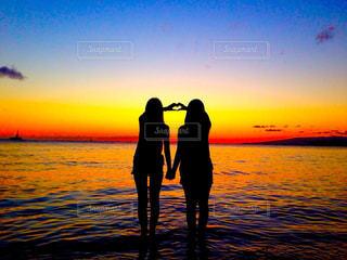 自然,海,空,夕日,太陽,ハワイ,サンセット,ワイキキビーチ