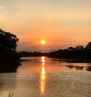 自然,空,夕日,夕焼け,川,景色,夕陽,岩手県一関市