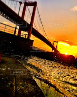 風景,海,空,夕日,夕焼け,波,北九州,若戸大橋