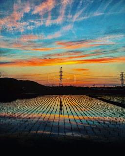 風景,空,夕日,夕焼け,田んぼ,福岡県