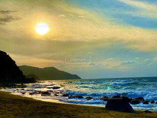 自然,海,空,太陽,ビーチ,夕暮れ,水面,海岸,光