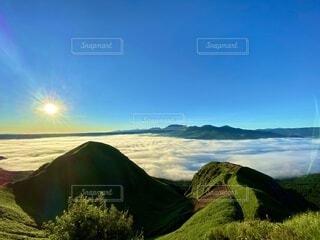自然,風景,屋外,朝日,雲,山,景色,新緑,雲海,阿蘇,日の出,高原,新年,眺め