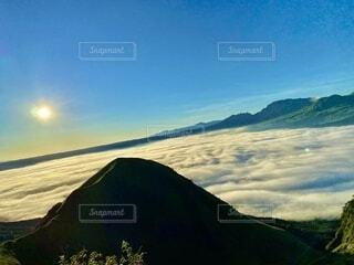 自然,風景,屋外,朝日,雲,山,景色,新緑,雲海,阿蘇,日の出,高原,眺め
