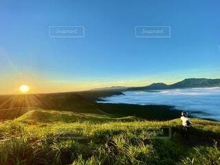 自然,風景,空,屋外,朝日,雲,山,景色,草,雲海,阿蘇,日の出,高原,眺め
