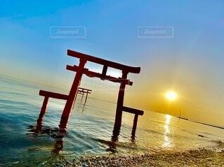 自然,風景,海,空,屋外,太陽,朝日,鳥居,日の出