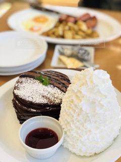 食べ物,ケーキ,パンケーキ,テーブル,モーニング,ホイップクリーム