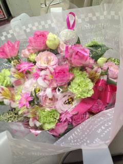 花,ピンク,花束,リボン