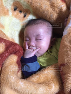 毛布の中で眠っている赤ちゃんの写真・画像素材[1159065]
