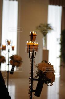 テーブルの上のブライダルキャンドルの写真・画像素材[1228362]