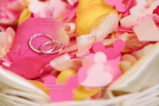 指輪,結婚式,結婚指輪,リボン,ウエディング,wedding,flower,折り紙,pink,フラワーシャワー,りぼん,祝福,ぴんく,ribbon,ミッキーシャワー