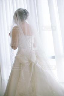 カーテンの前に立っている女性の写真・画像素材[1230526]