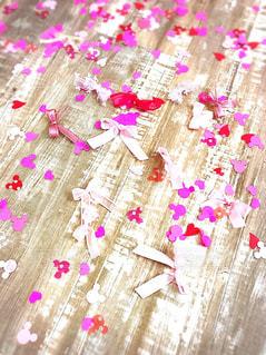 屋内,ピンク,赤,綺麗,ハート,床,リボン,可愛い,ミッキー,フラワーシャワー
