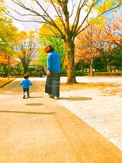 歩道をスケートボードに乗っている少年の写真・画像素材[2274490]