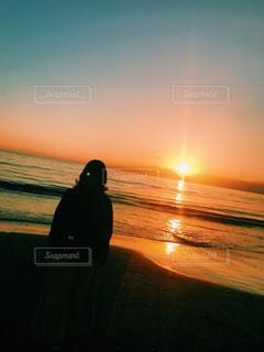海,空,夕日,光,人,癒し