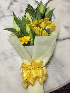 花束,黄色,リボン,贈り物