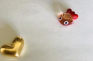 ハート,金魚,ゴールド