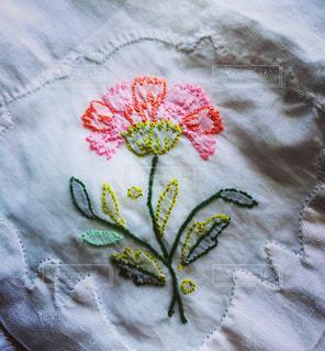 花,ピンク,コスモス,刺繍,リネン,母の手作り