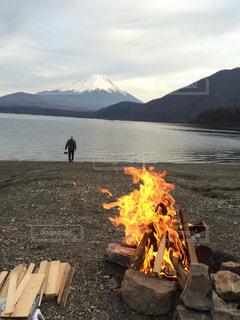 富士と焚火とオイラのキャンプ。の写真・画像素材[1049985]