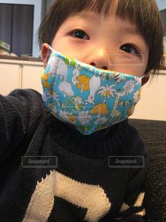 青いシャツを着た男の子の写真・画像素材[1068632]