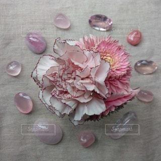 テーブルの上のピンクの花のクローズアップの写真・画像素材[2137442]