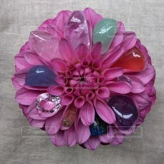 ピンクの花に埋もれた石の写真・画像素材[2137900]