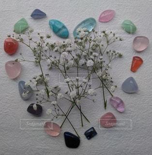 花,かすみ草,植物,カラフル,ハート,天然石,ストーン,クリスタル,配置,多色,ストーンフラワー