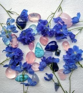 青い花と青い石の写真・画像素材[2279651]