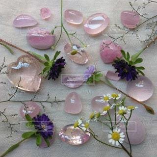 小さい花と可愛い石の写真・画像素材[2373912]