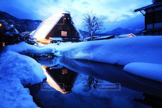 白川郷ライトアップの写真・画像素材[1026409]