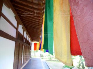 近くに黄色い傘のアップの写真・画像素材[1030350]