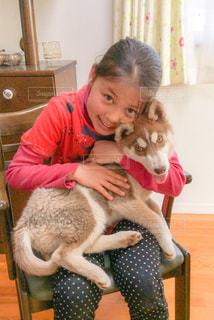 少女と子犬の写真・画像素材[1039262]