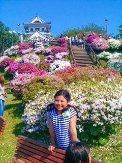 お城と花の写真・画像素材[1054616]